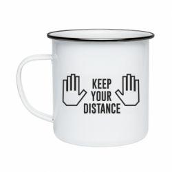 Кружка емальована Keep your distance