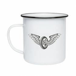 Кружка емальована Колесо та крила