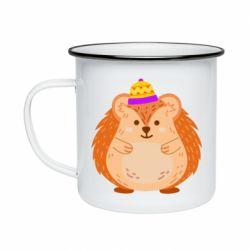 Кружка емальована Little hedgehog in a hat