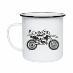 Кружка емальована Motocross text and motorcycle
