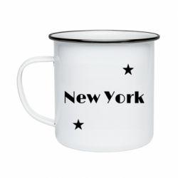 Кружка эмалированная New York and stars