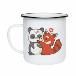 Кружка емальована Panda and fire panda