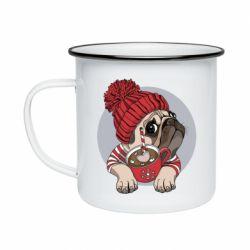 Кружка емальована Pug And Coffee