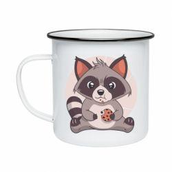 Кружка емальована Raccoon with cookies
