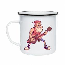 Кружка емальована Rock'n'roll Santa
