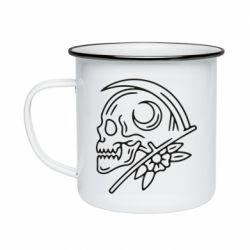 Кружка емальована Skull with scythe