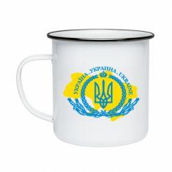 Кружка емальована Україна Мапа
