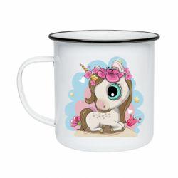 Кружка емальована Unicorn with flowers