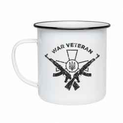 Кружка емальована Veteran machine gun