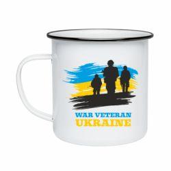Кружка емальована War veteran оf Ukraine
