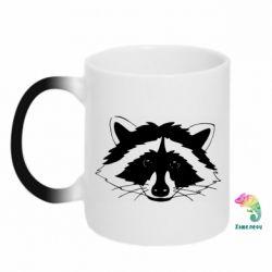 Кружка-хамелеон Cute raccoon face