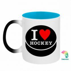 Кружка-хамелеон двокольорова I love hockey