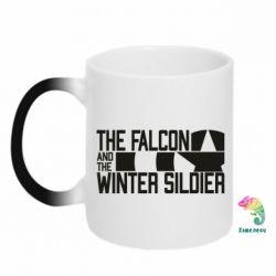 Кружка-хамелеон Falcon and winter soldier logo
