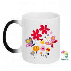 Кружка-хамелеон Flowers and Butterflies