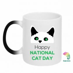 Кружка-хамелеон Happy National Cat Day