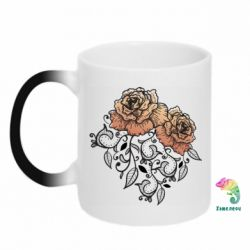 Кружка-хамелеон Roses with patterns