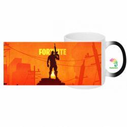 Кружка-хамелеон с полной запечткой Fortnite minimalist silhouettes