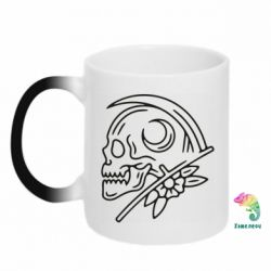 Кружка-хамелеон Skull with scythe