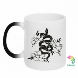 Кружка-хамелеон Snake with flowers