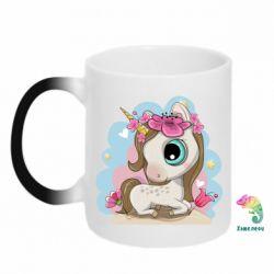 Кружка-хамелеон Unicorn with flowers