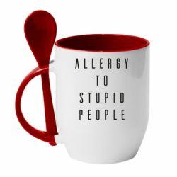 Кружка з керамічною ложкою Allergy To Stupid People