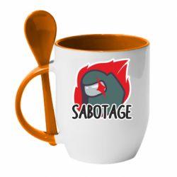 Кружка з керамічною ложкою Among Us Sabotage