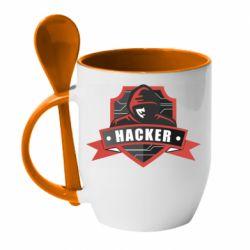 Кружка з керамічною ложкою Anonymous Hacker