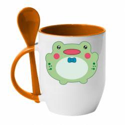 Кружка з керамічною ложкою Baby frog