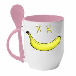 Кружка с керамической ложкой Banana smile