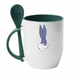 Кружка з керамічною ложкою Bugs Bunny Meme Face