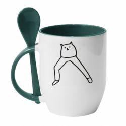 Кружка з керамічною ложкою Cat in pants