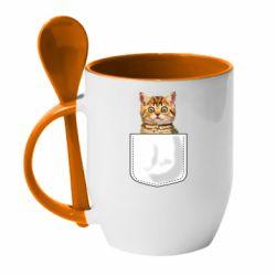 Кружка с керамической ложкой Cat in your pocket