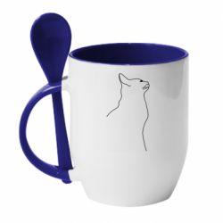 Кружка з керамічною ложкою Cat line