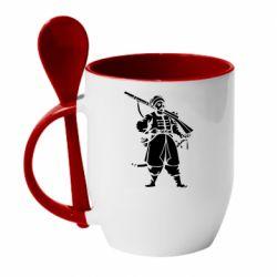 Кружка с керамической ложкой Cossack with a gun