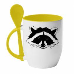 Кружка з керамічною ложкою Cute raccoon face