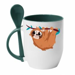 Кружка з керамічною ложкою Cute sloth