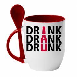 Кружка с керамической ложкой Drink Drank Drunk