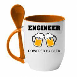 Кружка з керамічною ложкою Engineer Powered By Beer