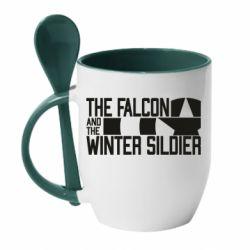 Кружка з керамічною ложкою Falcon and winter soldier logo