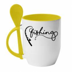 Кружка з керамічною ложкою Fishing and fishing rod
