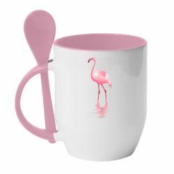 Кружка з керамічною ложкою Фламинго