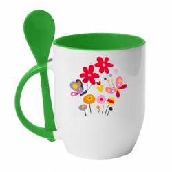Кружка с керамической ложкой Flowers and Butterflies