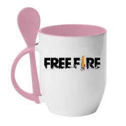 Кружка с керамической ложкой Free Fire spray