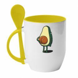 Кружка з керамічною ложкою Funny avocado