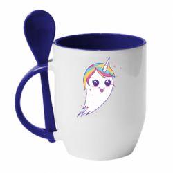 Кружка з керамічною ложкою Ghost Unicorn