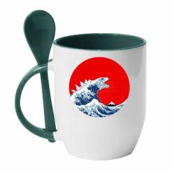 Кружка з керамічною ложкою Godzilla Wave