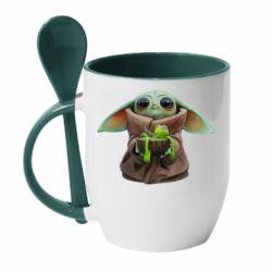 Кружка з керамічною ложкою Grogu and Kermit