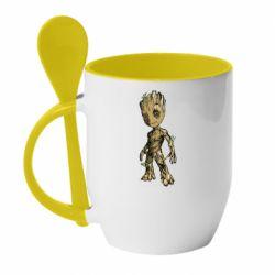 Кружка с керамической ложкой Groot teen