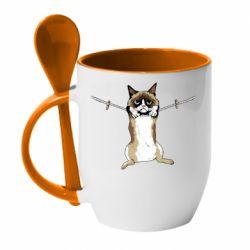 Кружка с керамической ложкой Grumpy Cat On The Rope