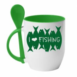 Кружка з керамічною ложкою I Love Fishing